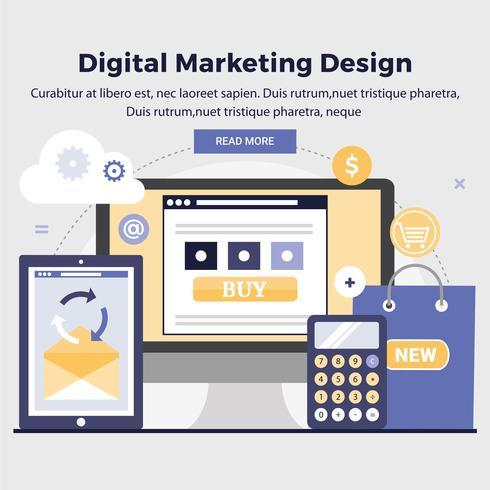 Vector Design de Marketing Digital Ilustração