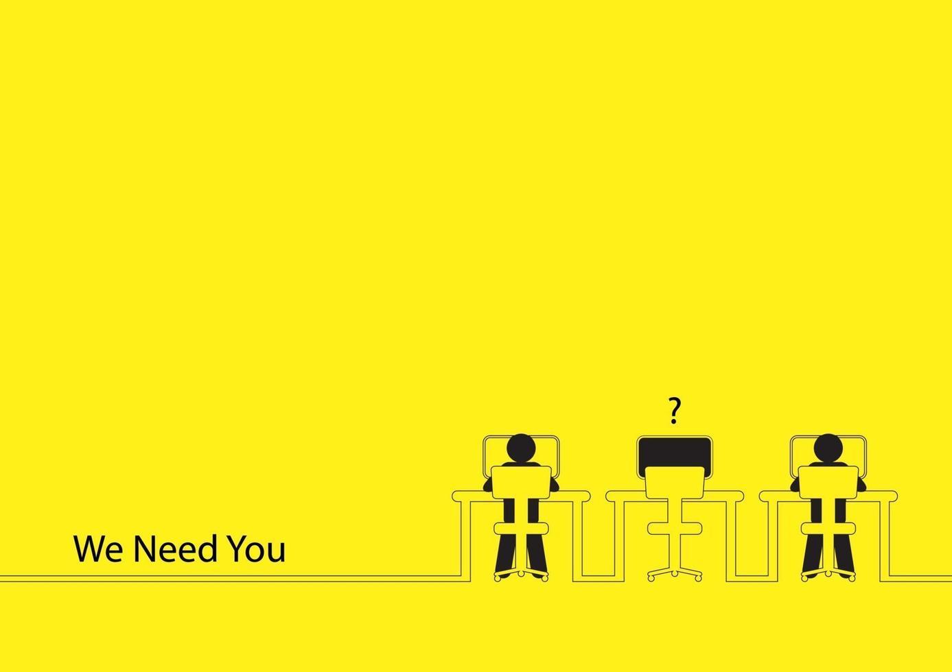 ilustração da arte de linha de duas pessoas trabalhando nos computadores com uma mesa vazia. vaga de emprego, novo recrutamento, trainee, ocupação, tema de busca de emprego vetor