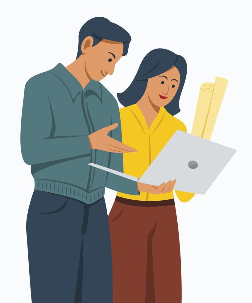 o trabalhador e a mulher olham para o laptop para colaboração vetor