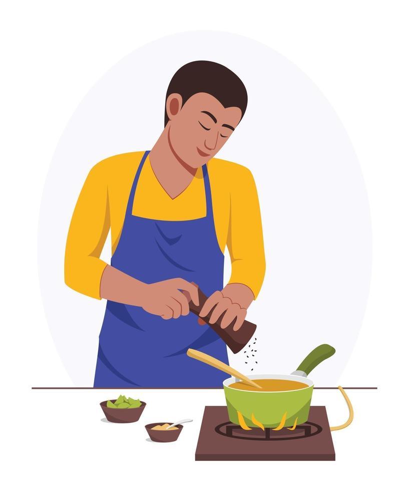 homem cozinhando sozinho em casa vetor