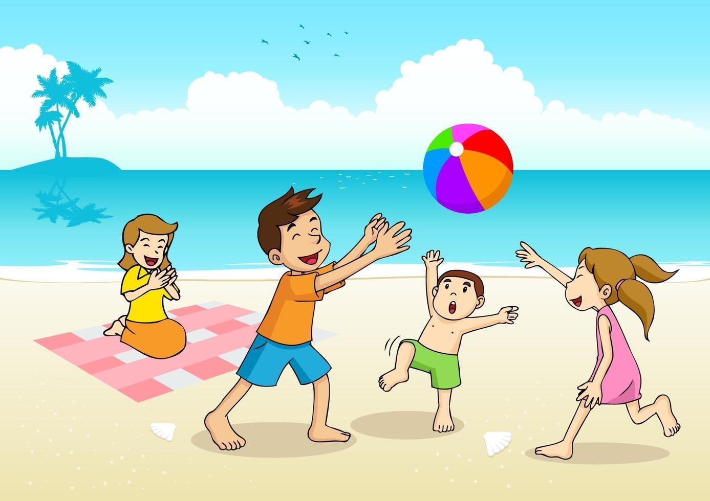 ilustração dos desenhos animados de uma família fazendo um piquenique na praia vetor