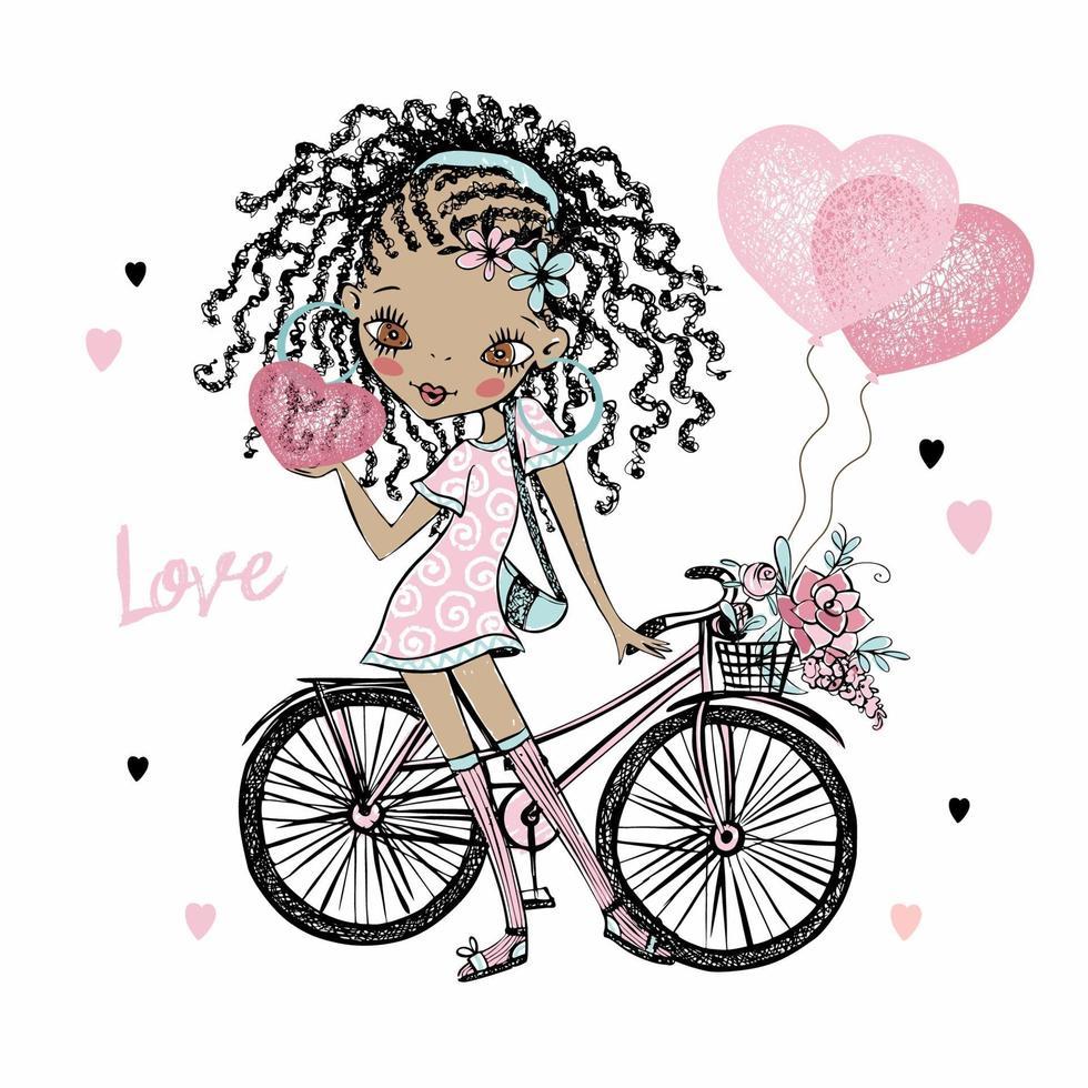menina adolescente de pele escura bonita fashionista com tranças com uma bicicleta e balões de corações. cartão de dia dos namorados. vetor. vetor