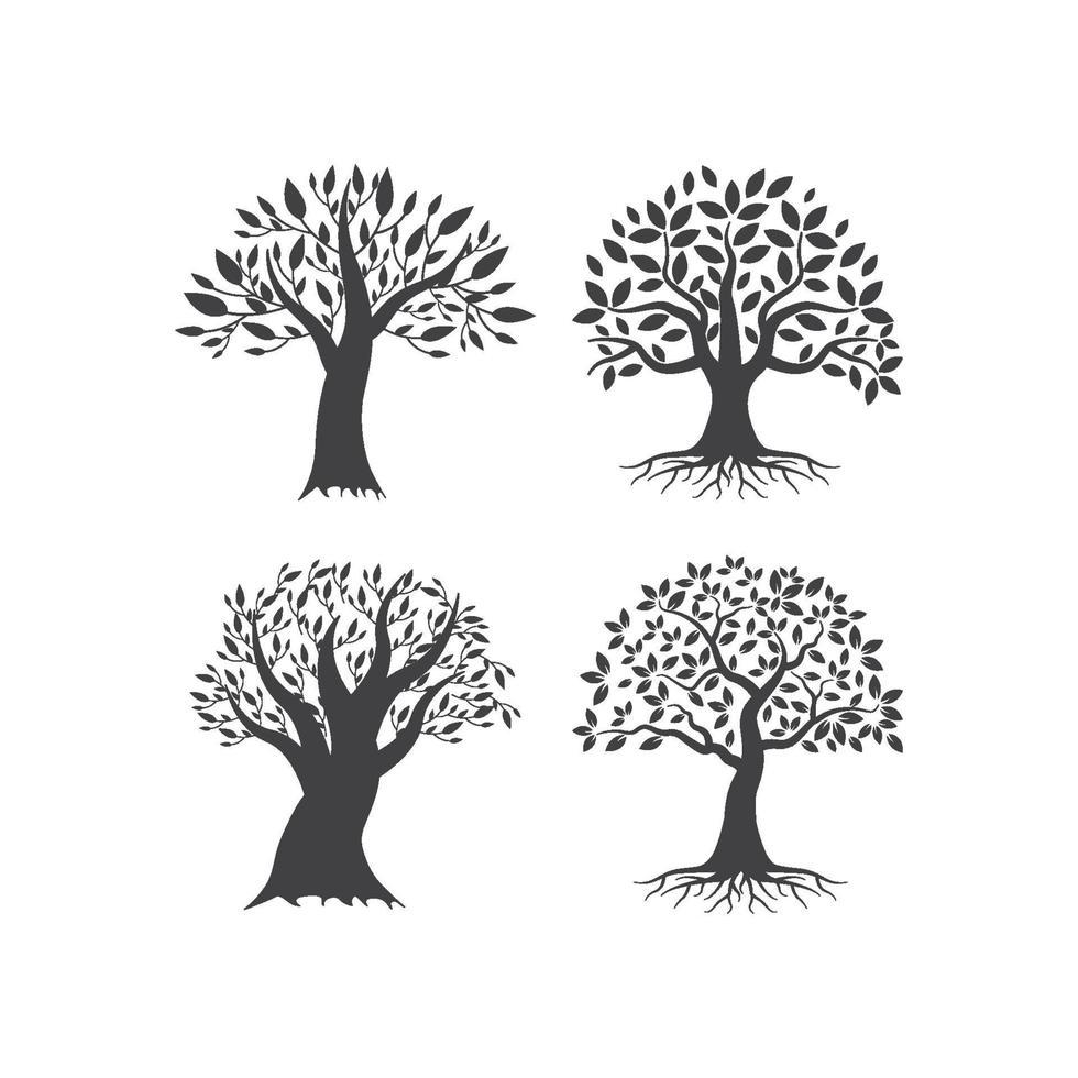 conjunto de ilustração de árvore vetor
