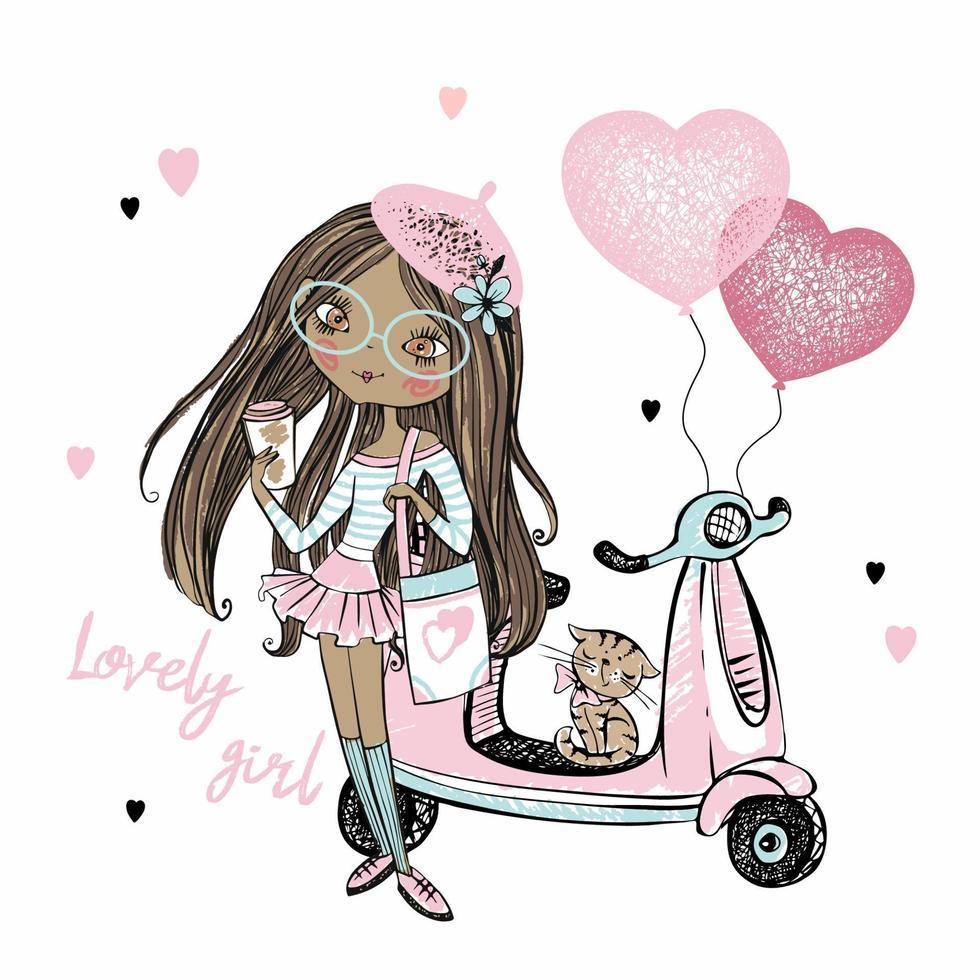 uma linda garota adolescente de pele escura em uma boina rosa está ao lado de sua scooter com balões em forma de coração. cartões de dia dos namorados. vetor. vetor