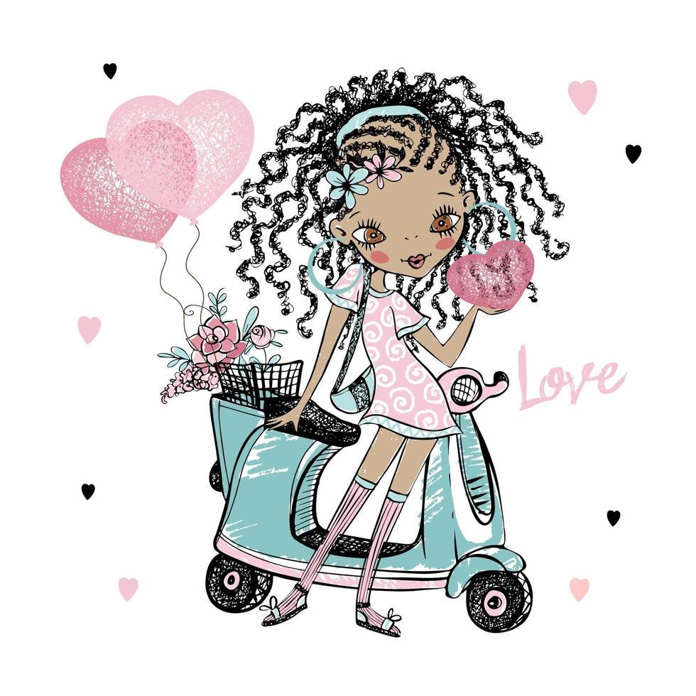 linda garota adolescente de pele escura com dreadlocks fica perto de sua scooter com corações de balões. cartão do dia dos namorados. vetor. vetor
