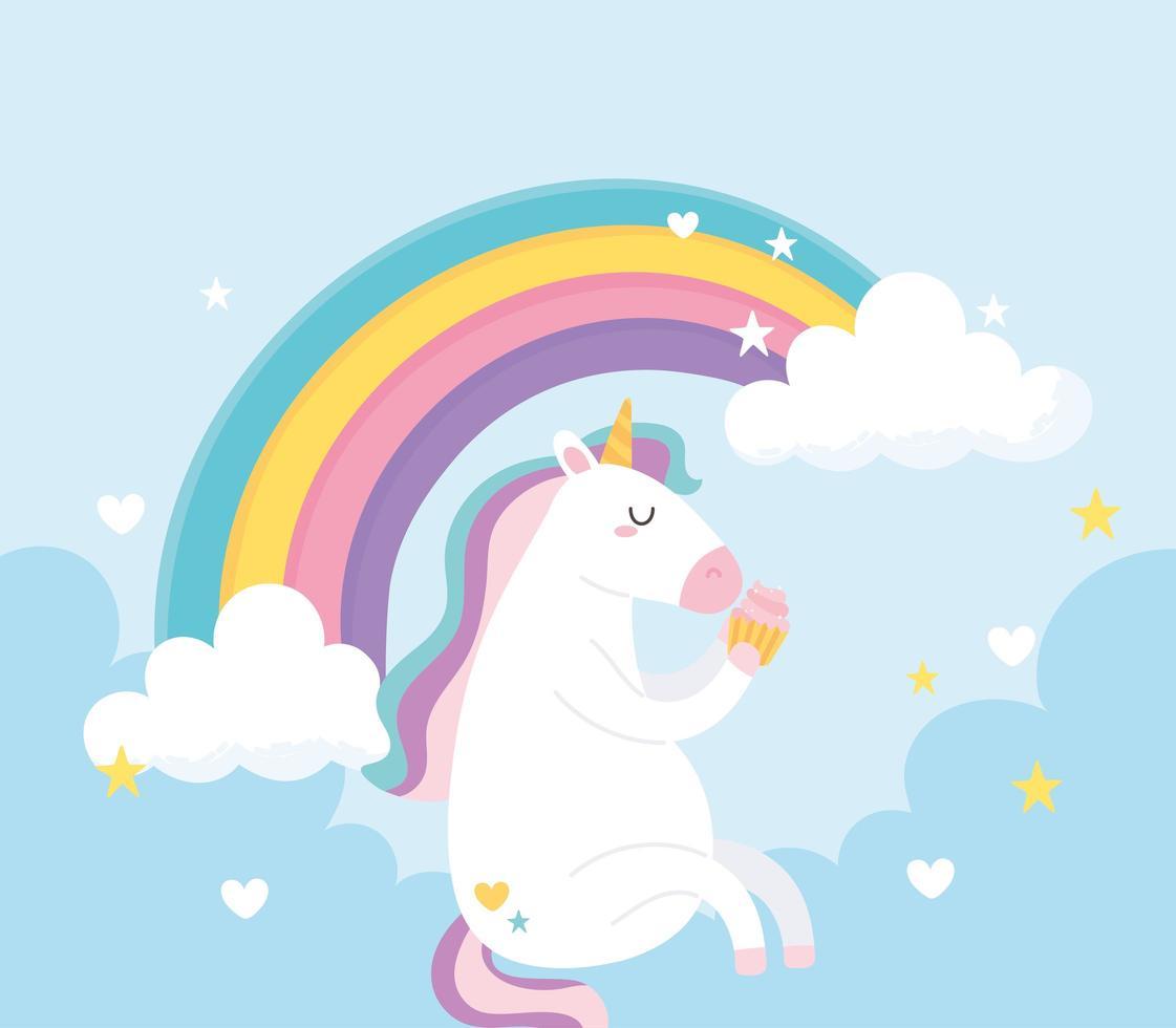 unicórnio mágico bonito dos desenhos animados com arco-íris vetor