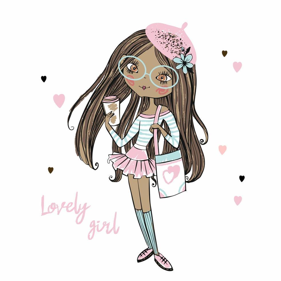 linda fashionista adolescente de pele escura em uma boina rosa com uma xícara de café. vetor. vetor