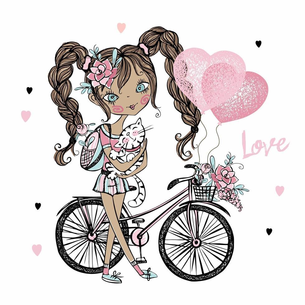 adolescente bonita fashionista de pele escura com um gato, uma bicicleta e balões com corações. cartão de dia dos namorados. vetor. vetor