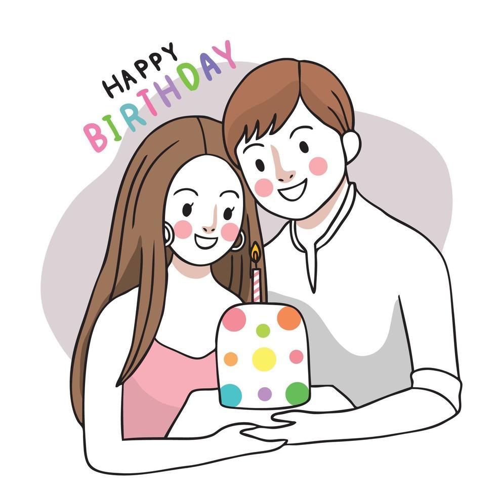 casal feliz aniversário e bolo doce mão desenhar vetor bonito dos desenhos animados.