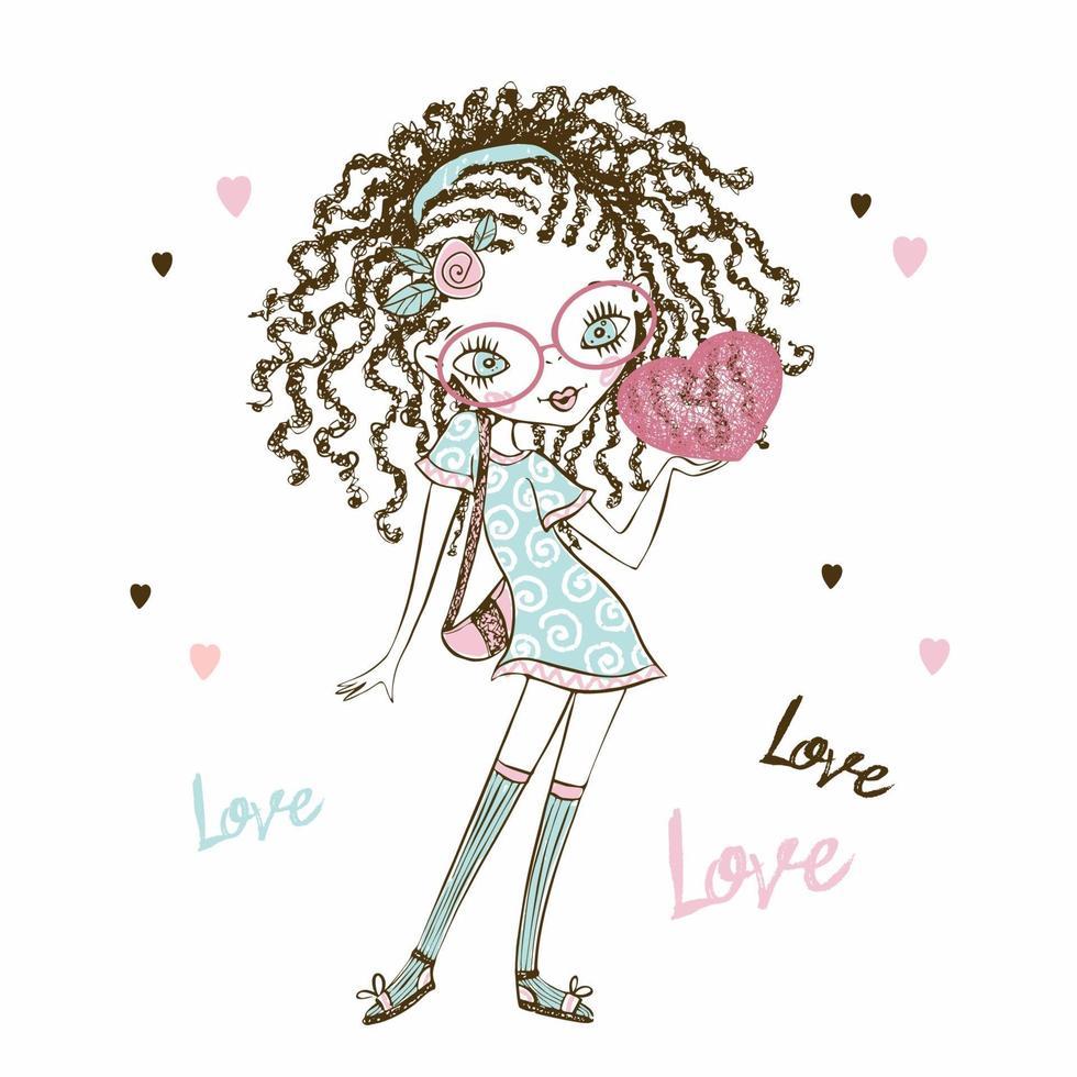 menina adolescente fashionista bonita com rabo de cavalo com um coração nas mãos. cartão de dia dos namorados. vetor. vetor