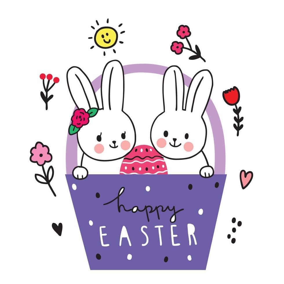 dia de Páscoa. amigos de coelhos e ovo na cesta, mão desenhar vetor bonito dos desenhos animados.