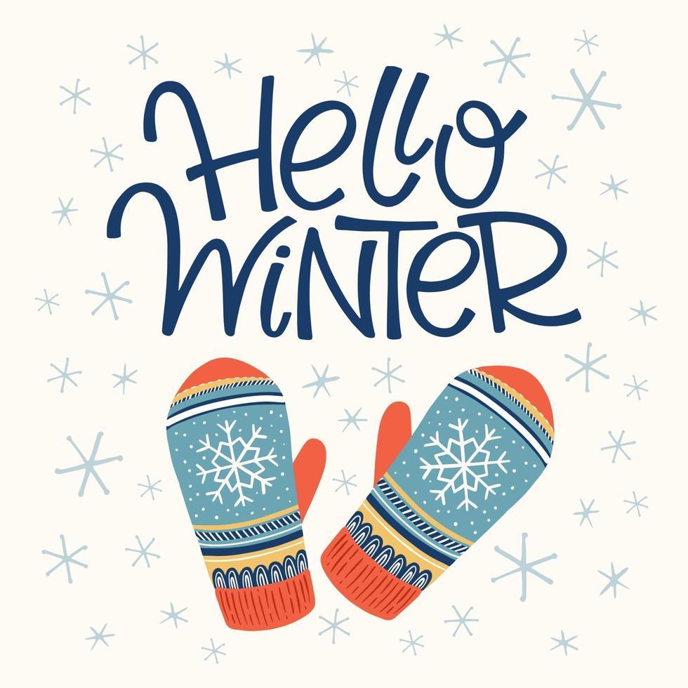 olá cartão de inverno vetor