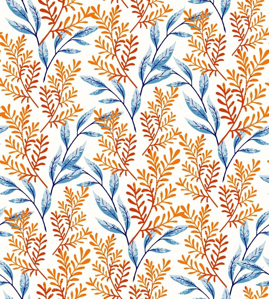 laranja folhas padrão sem emenda vetor