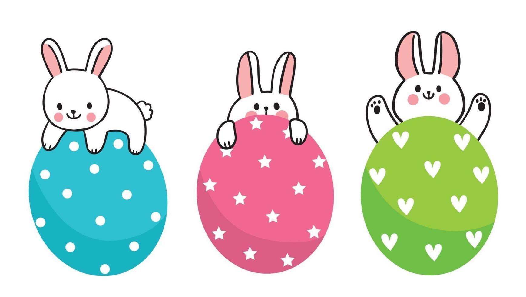 dia de Páscoa. três coelhinhos e ovos coloridos, mão desenhar desenhos animados bonitos vetor. vetor