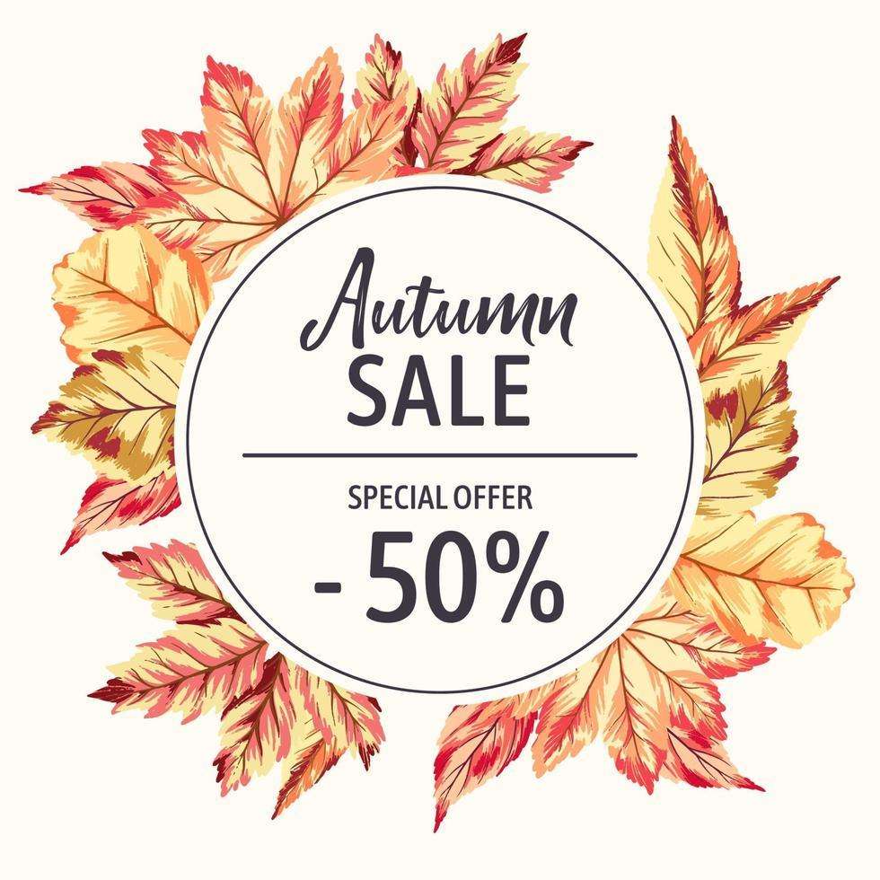 moldura com folhas de outono vetor