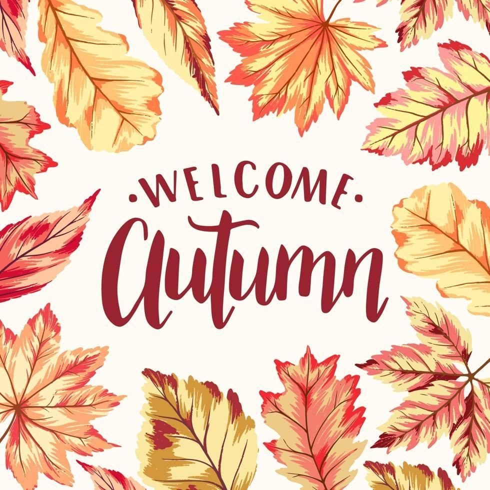 bem-vindo quadro de outono vetor