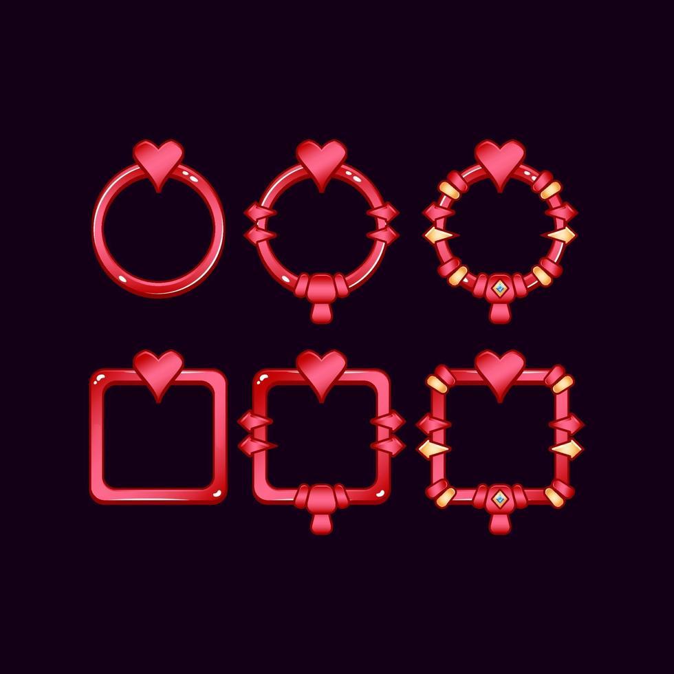 conjunto de moldura de borda de interface do usuário do jogo com símbolo de coração para elementos de recursos de interface do usuário vetor