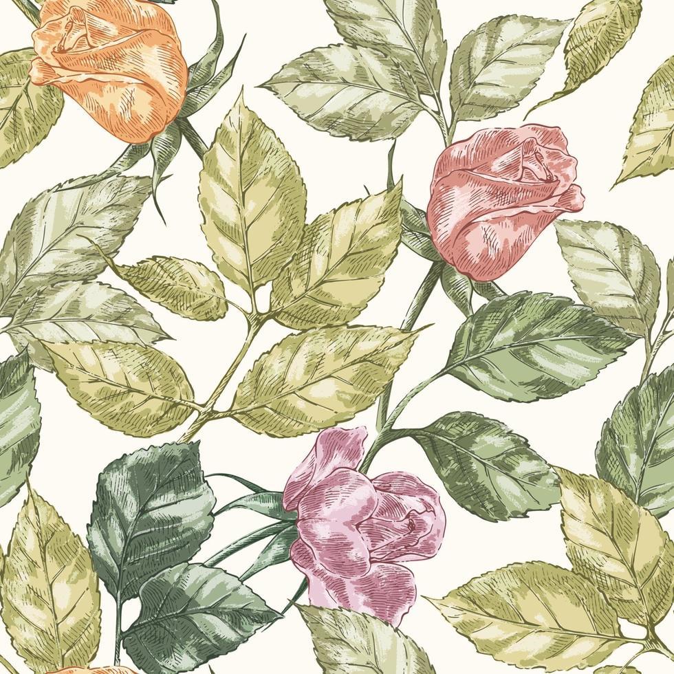 padrão rosa vintage vetor