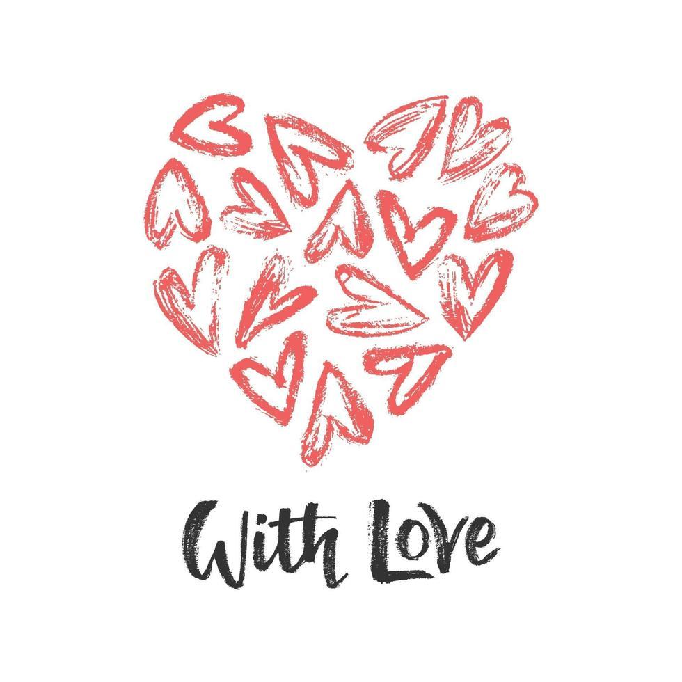 com letras de mão de amor vetor