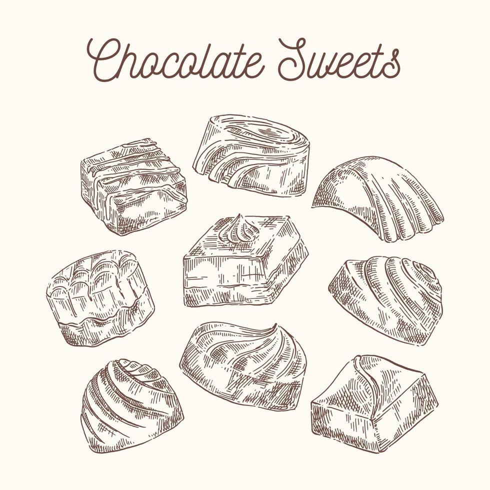 conjunto vintage doces de chocolate vetor