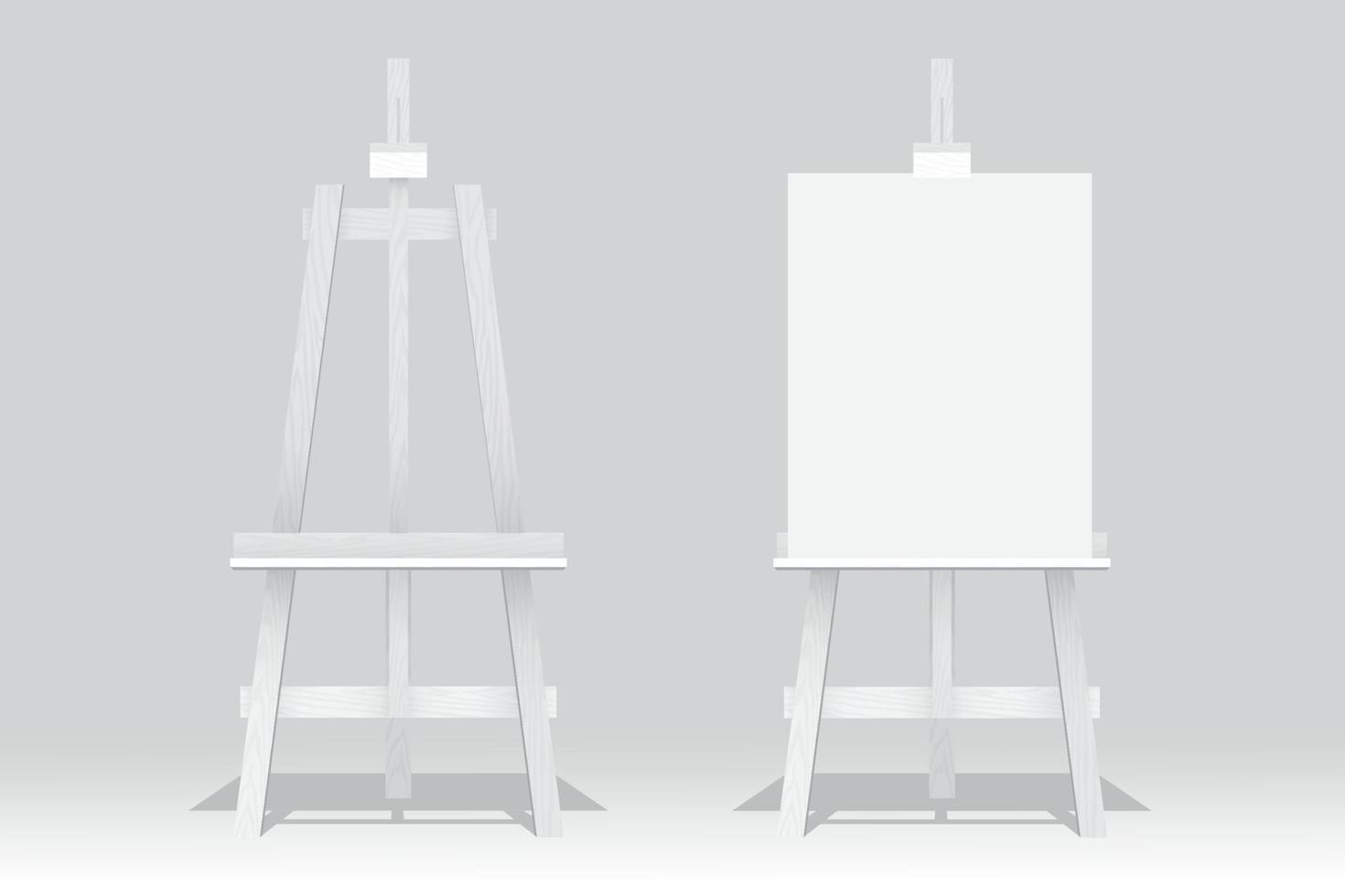 cavaletes de madeira, um está com tela em branco sobre fundo branco vetor