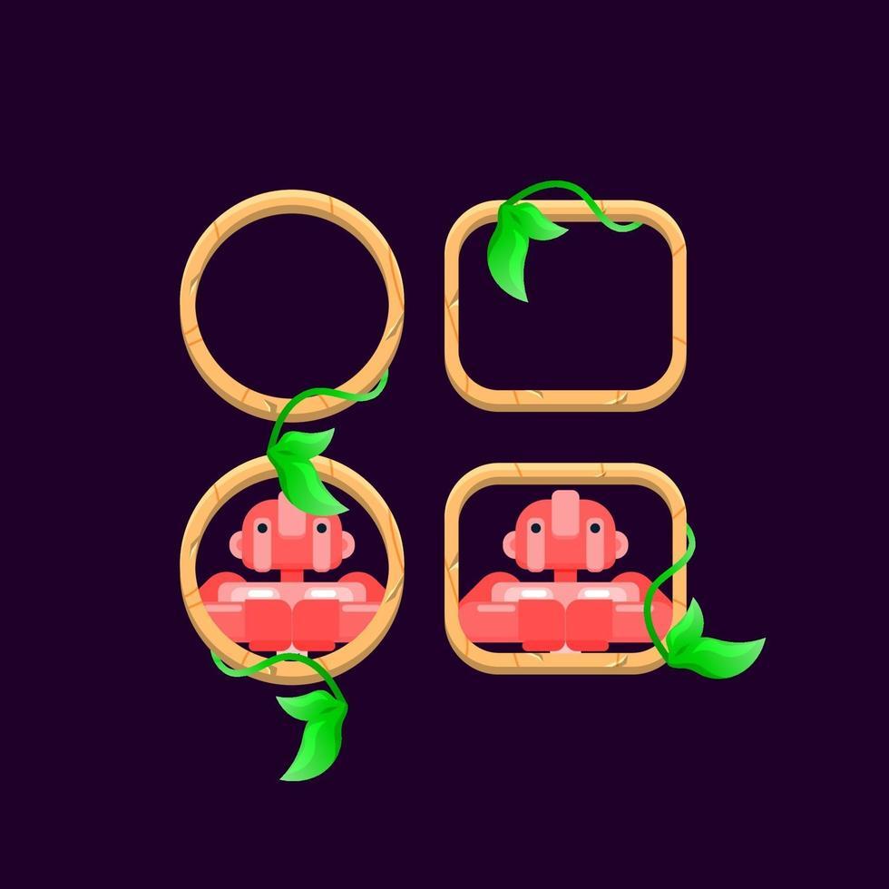 conjunto de folhas de madeira da interface do usuário do jogo com ilustração vetorial de visualização de avatar de personagem vetor
