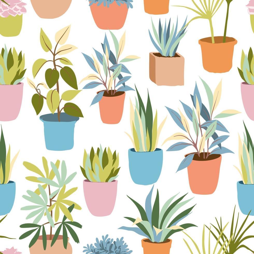 padrão de plantas domésticas planas vetor