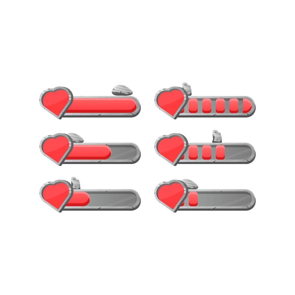 conjunto de barra de progresso de vida de vida de pedra de pedra de interface do jogo com ilustração vetorial de elementos de recurso de 2 estilos para gui vetor