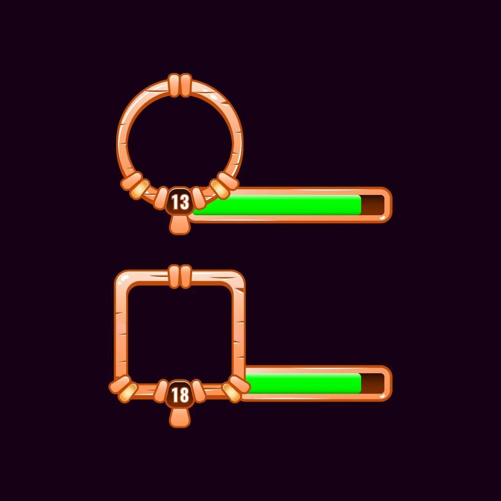 moldura de borda de ui de jogo de madeira com barra de nível e progresso para ilustração vetorial de elementos de ativos de interface vetor
