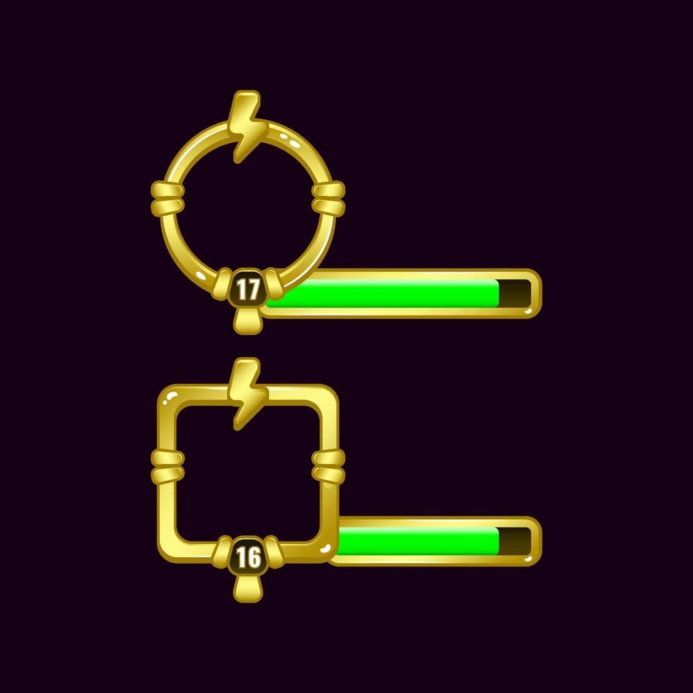 quadro de borda de ui de jogo de trovão de energia com barra de nível e progresso para ilustração vetorial de elementos de ativos de interface gráfica vetor