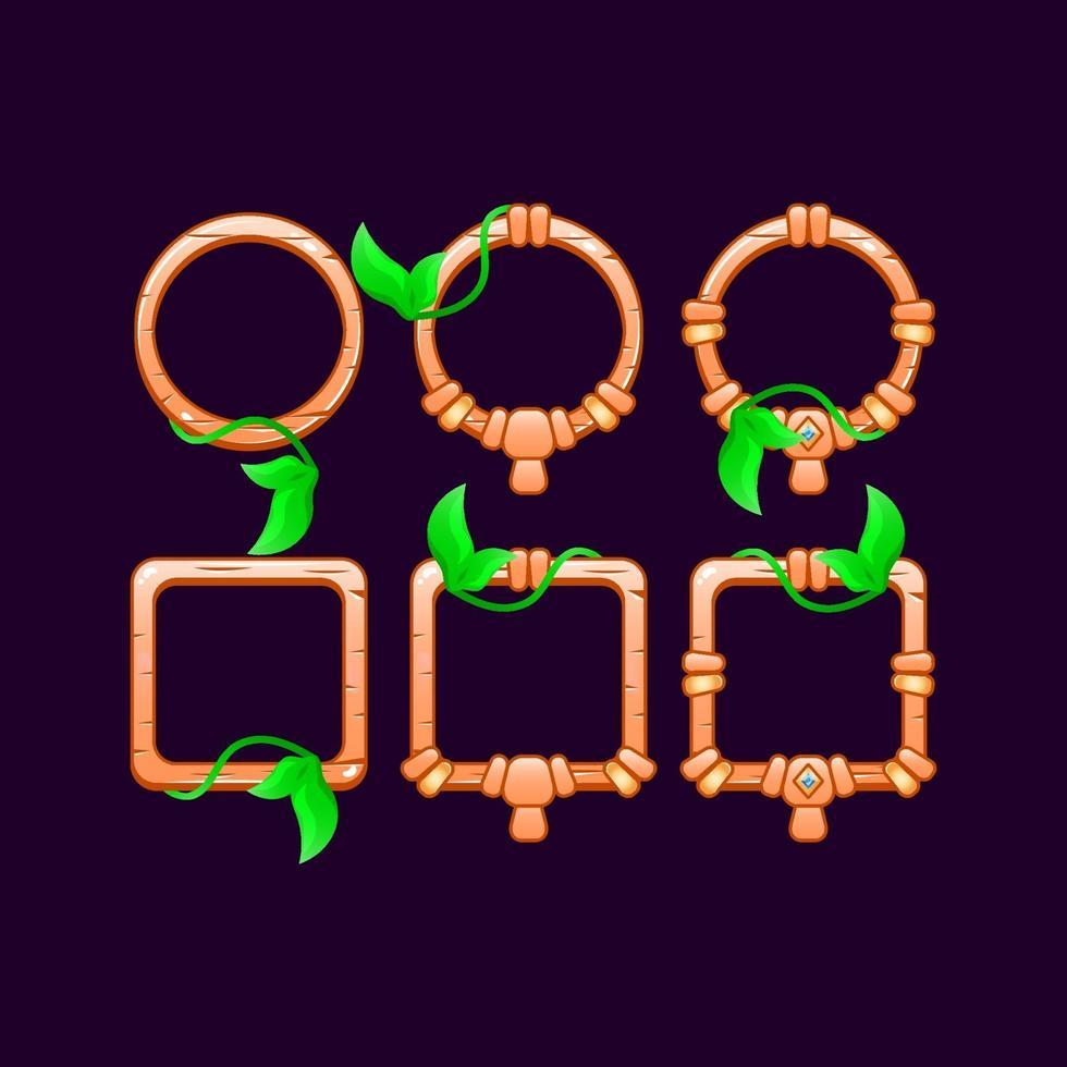 conjunto de jogo ui folhas de madeira ilustração vetorial moldura vetor