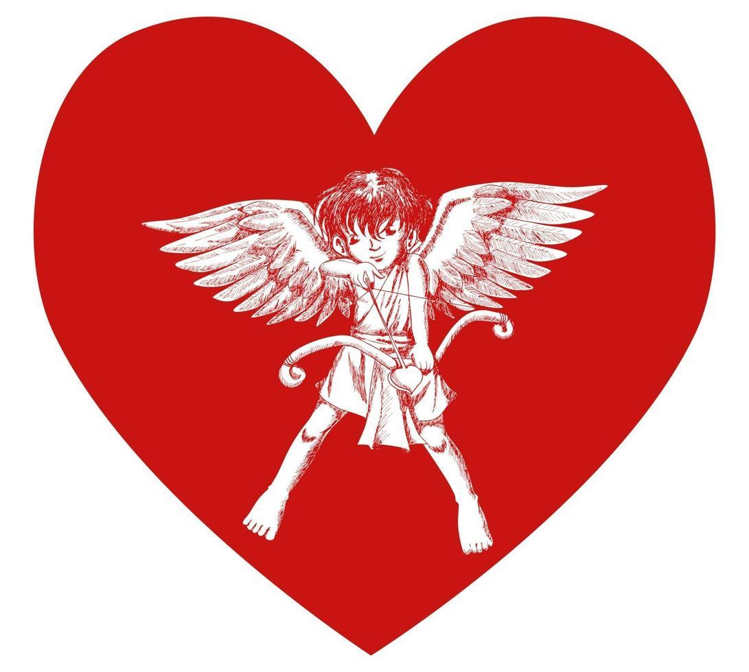 esboçar a ilustração de um cupido no símbolo do coração vetor