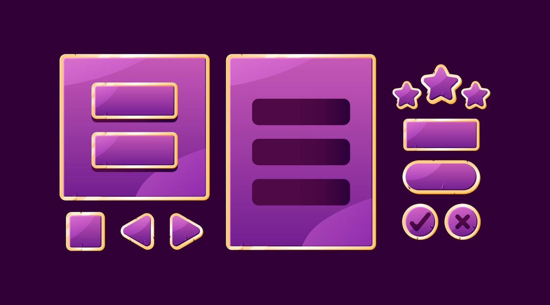 conjunto de placa de interface do usuário de jogo roxo dourado pop-up e botão para ilustração vetorial de elementos de ativos de interface vetor