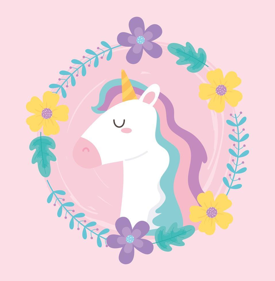 unicórnio mágico bonito dos desenhos animados com guirlanda de flores vetor