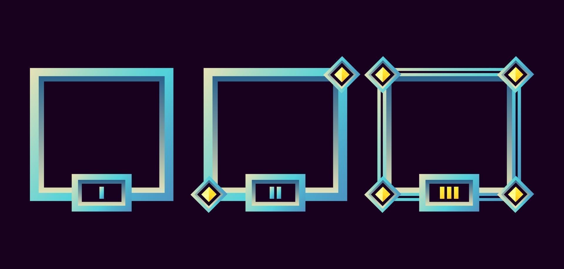 moldura de borda de interface do usuário de jogo de fantasia com ilustração vetorial de grau vetor