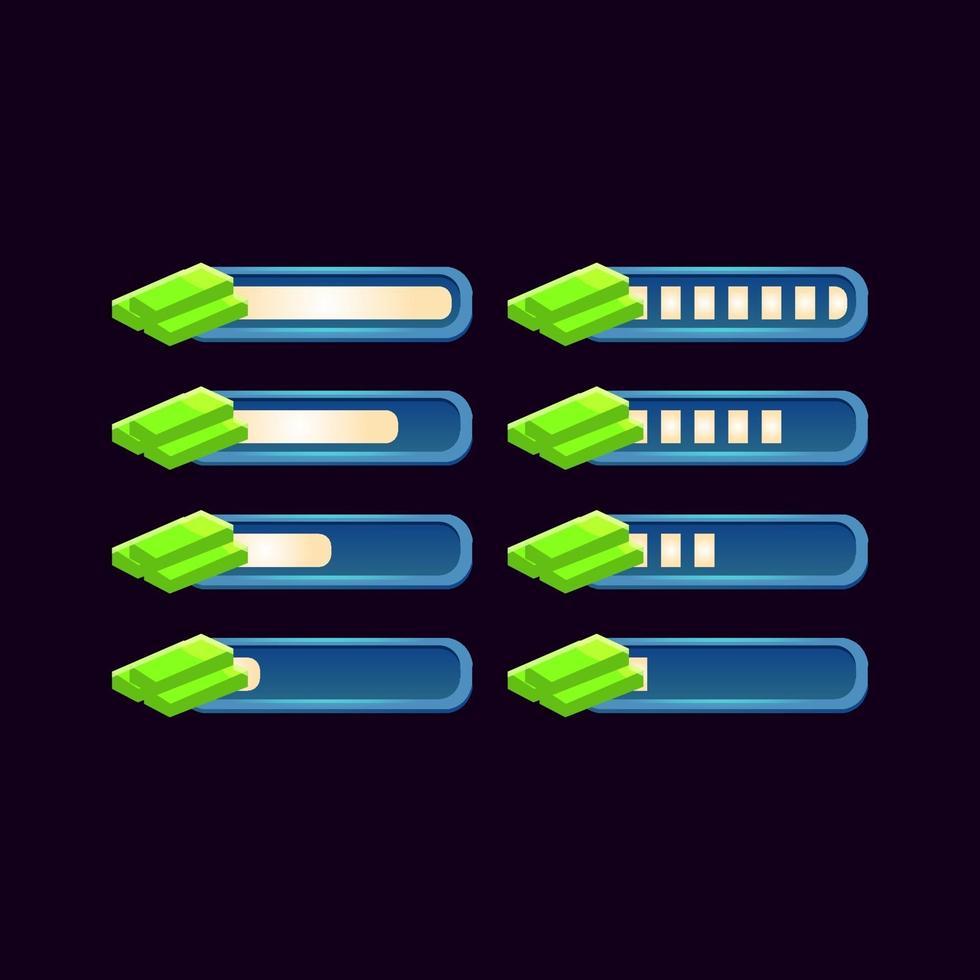 conjunto de barra de dinheiro de progresso de fantasia de gui para ilustração vetorial de elementos de ativos de interface do usuário do jogo vetor