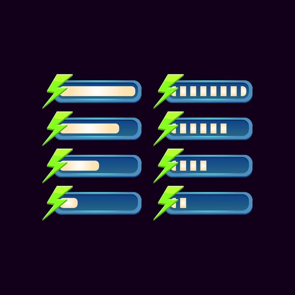 conjunto de barra de energia de progresso de fantasia gui para ilustração vetorial de elementos de ativos de interface do usuário do jogo vetor