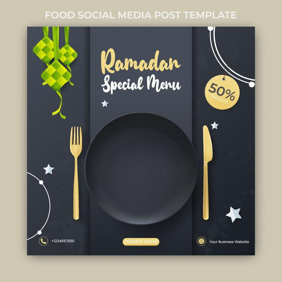 anúncio de banner do ramadã. modelo de postagem de mídia social do ramadã vetor