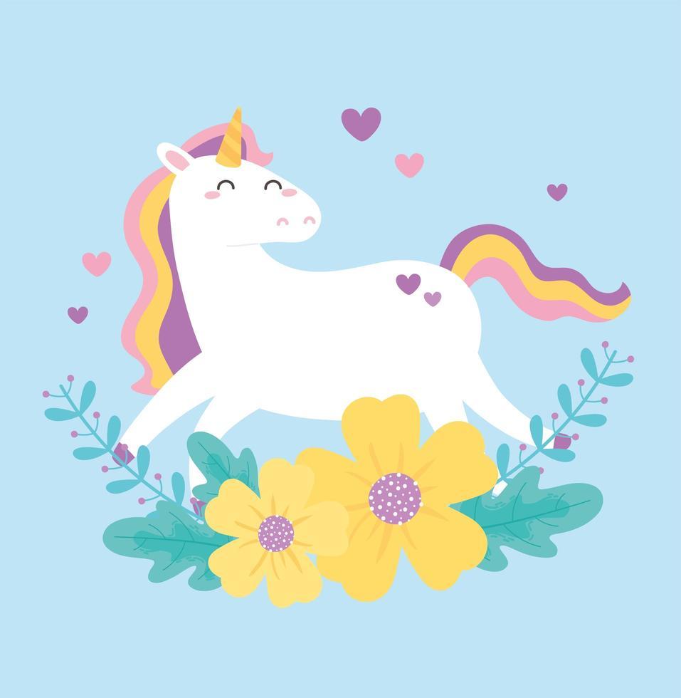 unicórnio mágico bonito dos desenhos animados com flores vetor