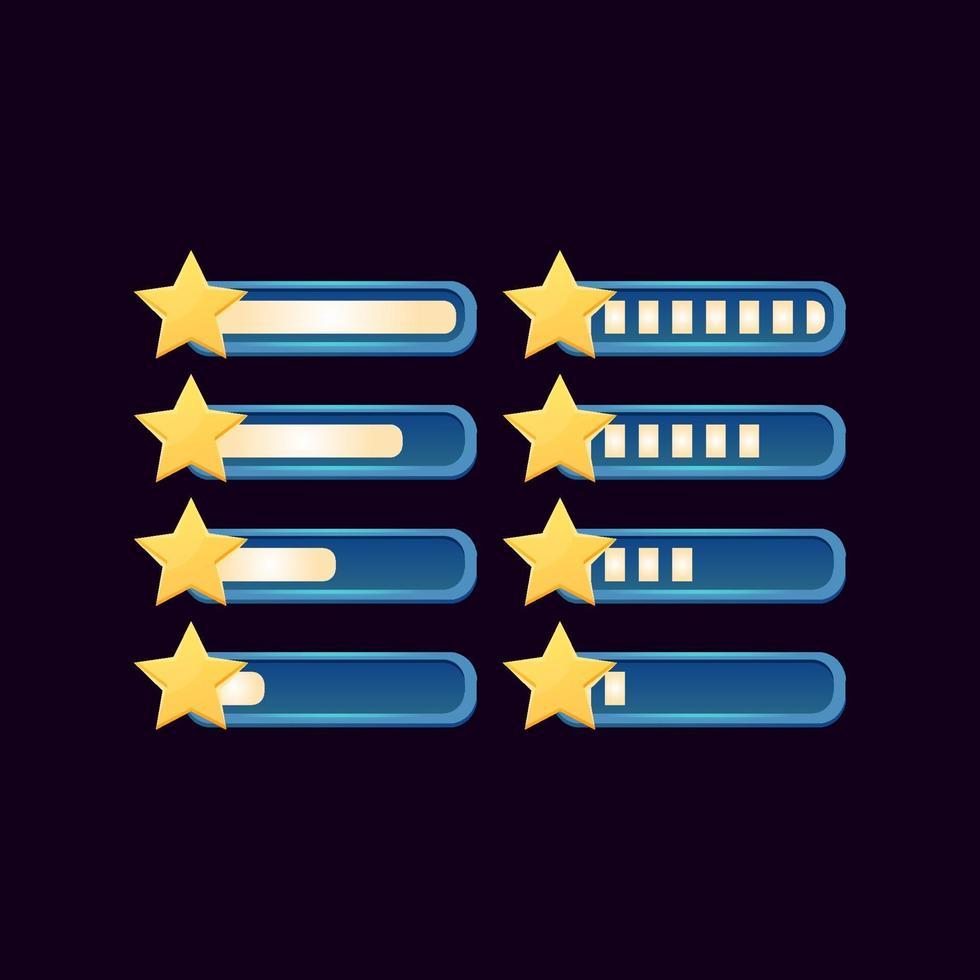 conjunto de barra estrela de progresso de fantasia gui para ilustração vetorial de elementos de ativos de interface do usuário do jogo vetor