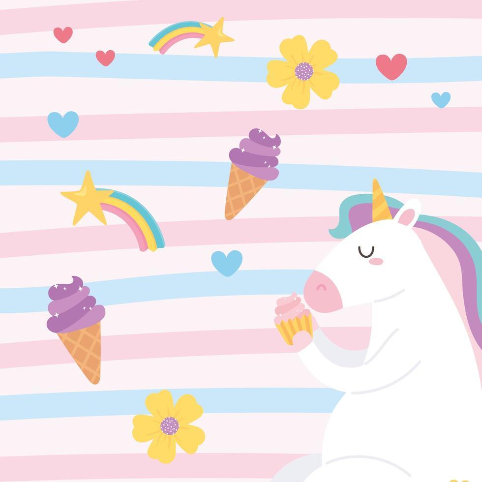 unicórnio mágico bonito dos desenhos animados comendo um cupcake vetor