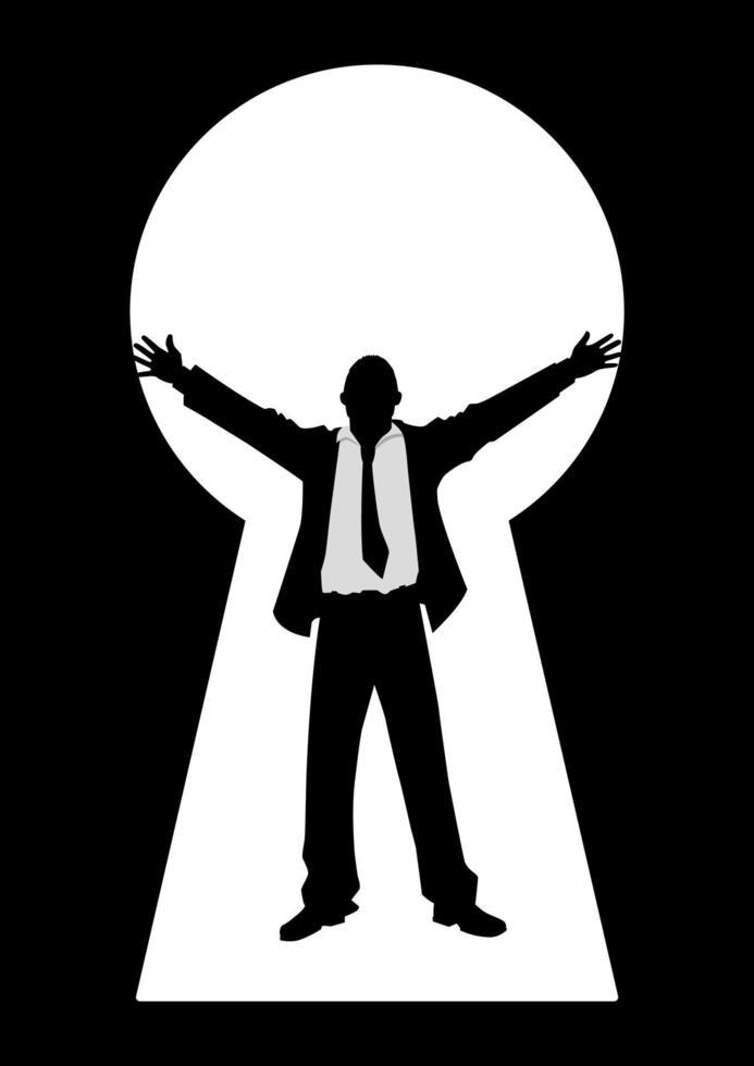 ilustração da silhueta de um empresário com os braços abertos, visto de uma fechadura vetor