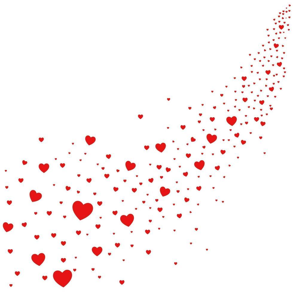 ilustração abstrata de corações caindo do céu, o amor está no ar vetor