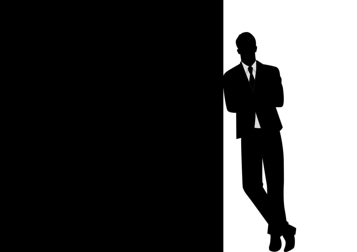 silhueta de um empresário inclinado em um espaço preto em branco para cópia com o braço cruzado vetor