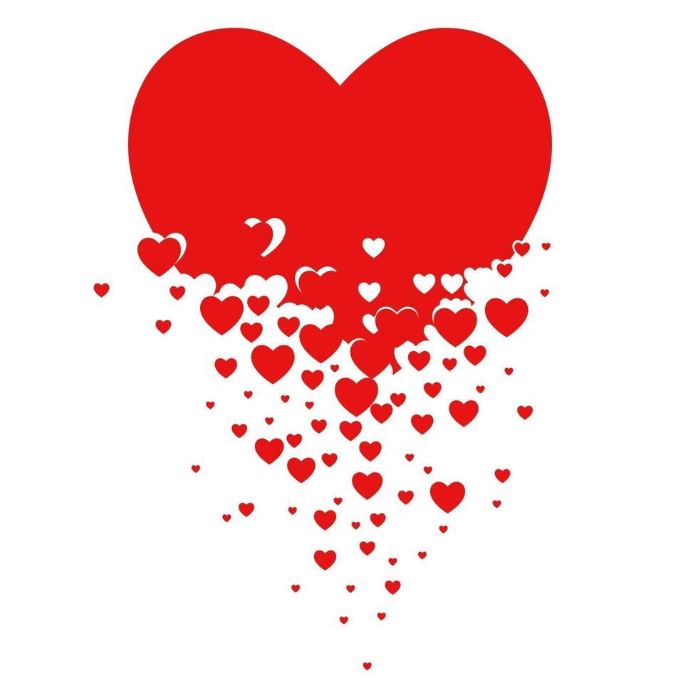 pequenos corações formando um coração maior vetor
