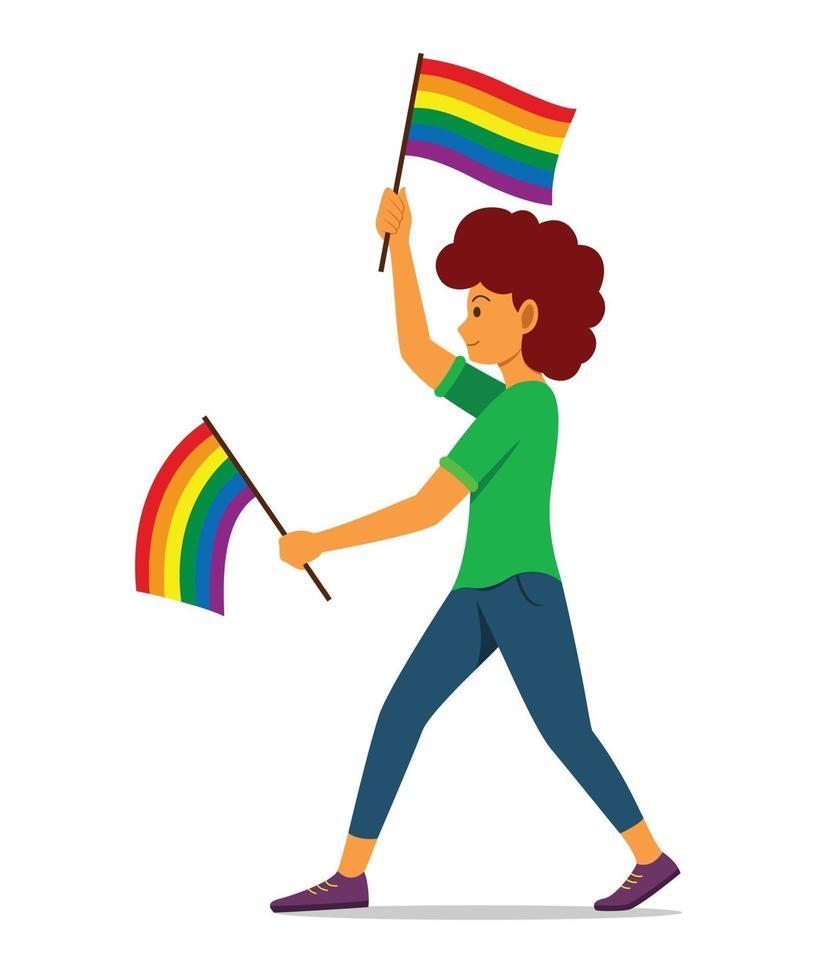mulher segurando bandeiras de arco-íris para o movimento lgbt vetor