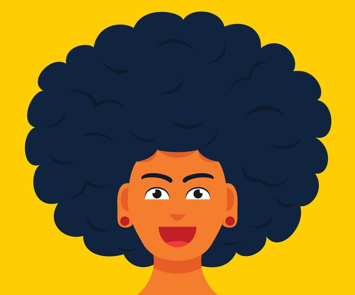 o rosto sorridente do homem com um grande cabelo afro vetor