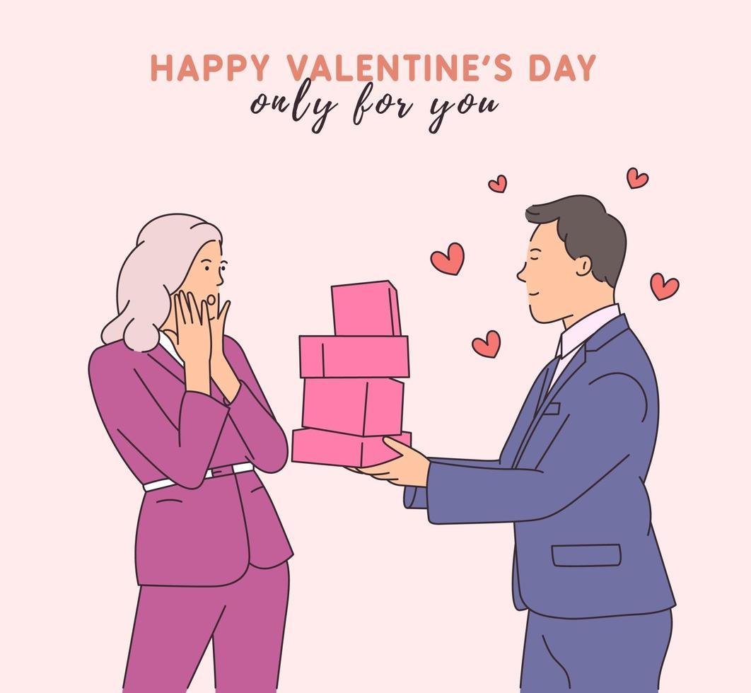 amor, namoro, romance, relacionamento, união, conceito de casal. personagem de desenho animado bonito jovem feliz dando presentes para uma mulher chocada. ilustração de estilo de linha moderna vetor