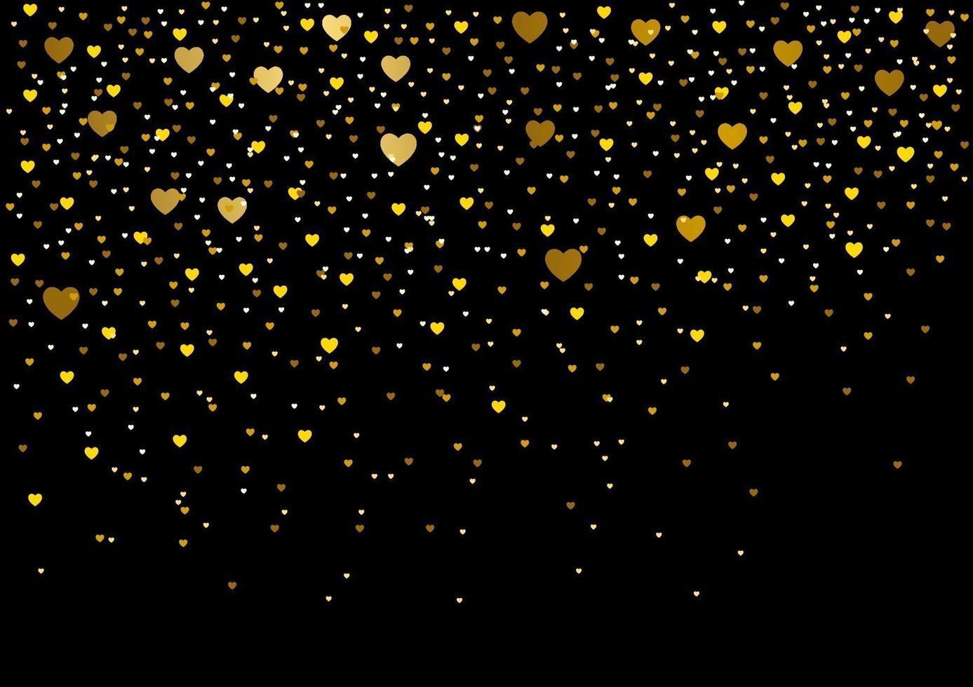 pequenos corações em fundo preto vetor