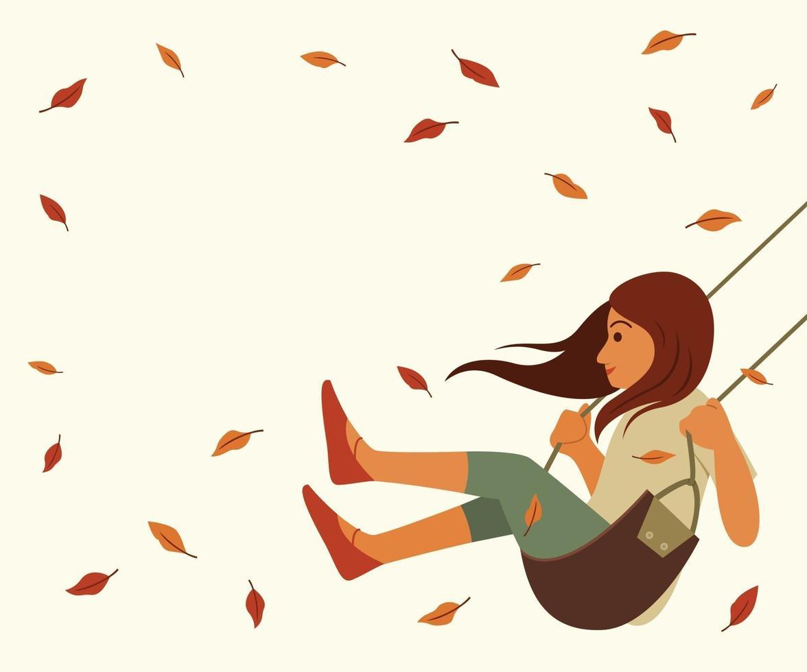 garota balançando e folhas secas flutuando ao vento vetor